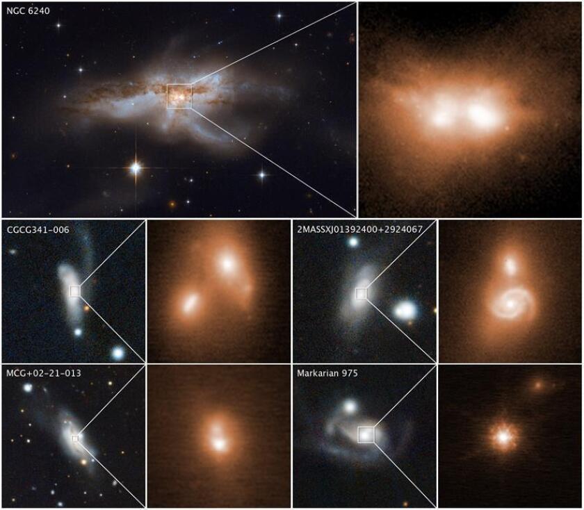 Compilado de fotografías cedido por NASA-ESA que muestra varias galaxias. Un equipo de astrónomos, entre ellos algunos de Chile, ha encontrado una relación entre el choque de galaxias y la voracidad de los agujeros negros, que puede ser clave para resolver importantes incógnitas de la Astrofísica, según los investigadores. EFE/NASA-ESA
