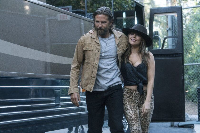 """Bradley Cooper and Lady Gaga in the blockbuster drama """"A Star Is Born."""""""