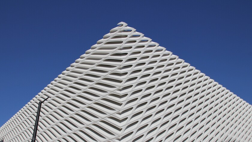 A special preview allowed visitors to stream into the new Broad museum over the weekend for a sneak peak at Diller Scofidio + Renfro's rising museum, scheduled to open in September. Seen here: a corner view of the building's patterned exterior.