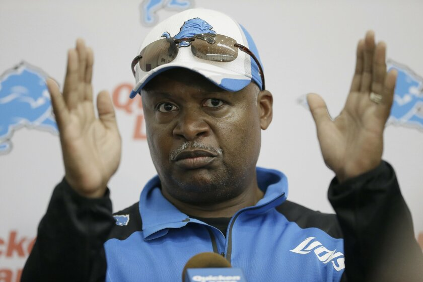 Detroit Lions head coach Jim Caldwell addresses the media after an NFL football minicamp in Allen Park, Mich., Wednesday, June 11, 2014. (AP Photo/Carlos Osorio)