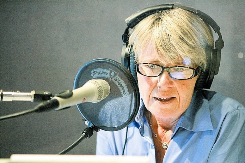 """Martha Barnette, co-host of """"A Way With Words,"""" spoke with a caller during a weekly taping at Studio West, a recording studio in Rancho Bernardo. The once-canceled KPBS radio show is back and drawing listeners at 52 public-radio affiliates."""