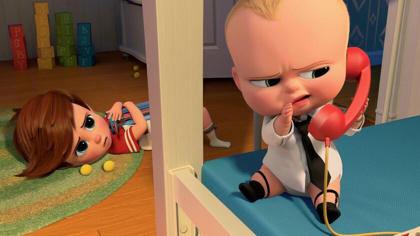 This image released by DreamWorks Animation shows characters Tim, voiced by Miles Bakshi, and Boss B