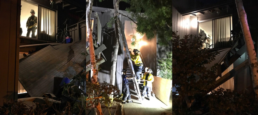 A balcony collapsed at a complex in Mountain View, Calif.