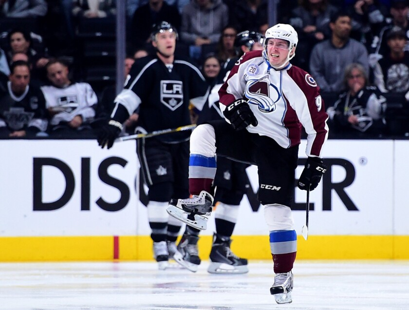 Avalanche center Matt Duchene celebrates his goal against the Kings to tie the score, 2-2, during the second period.
