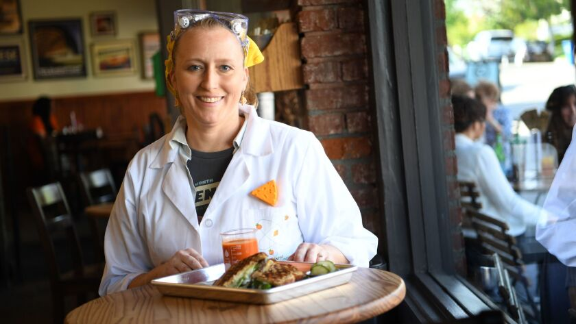 Owner Annie Miler takes a break from grilled cheese experimentation at Clementine Bakery.