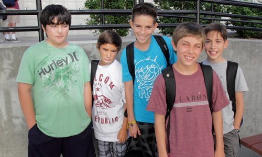 Sixth-graders on their way to the first day of school