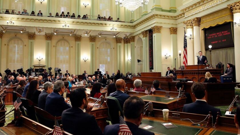 Gov. Gavin Newsom delivers his first State of the State address on Feb. 12. Newsom and the Legislature's Democratic majority appear poised to further push policies that expand government oversight in the business world.