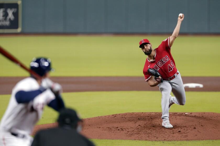 Angels starting pitcher Patrick Sandoval throws against Houston Astros George Springer.