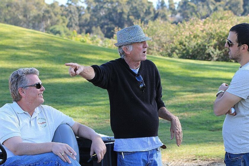 """SMALL FILE SIZE From left: Robert Crane, San Diego Park and Recreation, Writer/Producer  Ron Jackson and Second Assistant Director Jeff Romeo, at the Balboa Park Golf Course during the filiming of """"5 Hour Friends."""""""