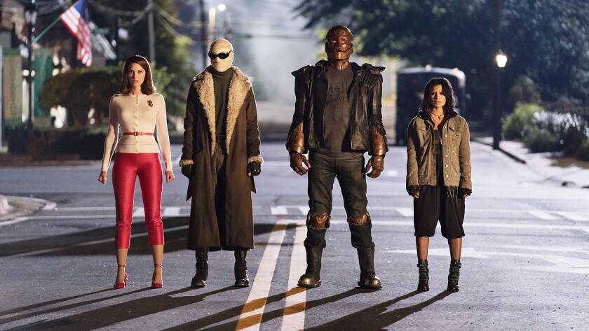 "April Bowlby (left), Matt Bomer, Brendan Fraser and Diane Guerrero are melancholic superheroes in the DC Universe series ""Doom Patrol."""