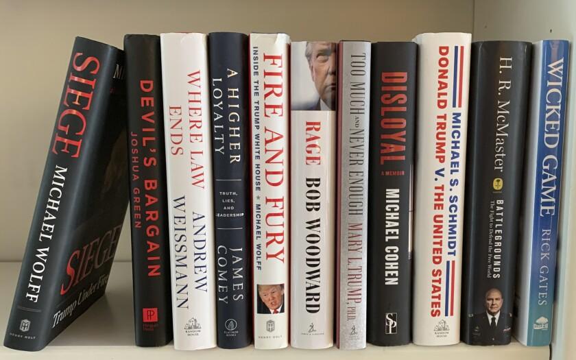 Trump-related books on a shelf