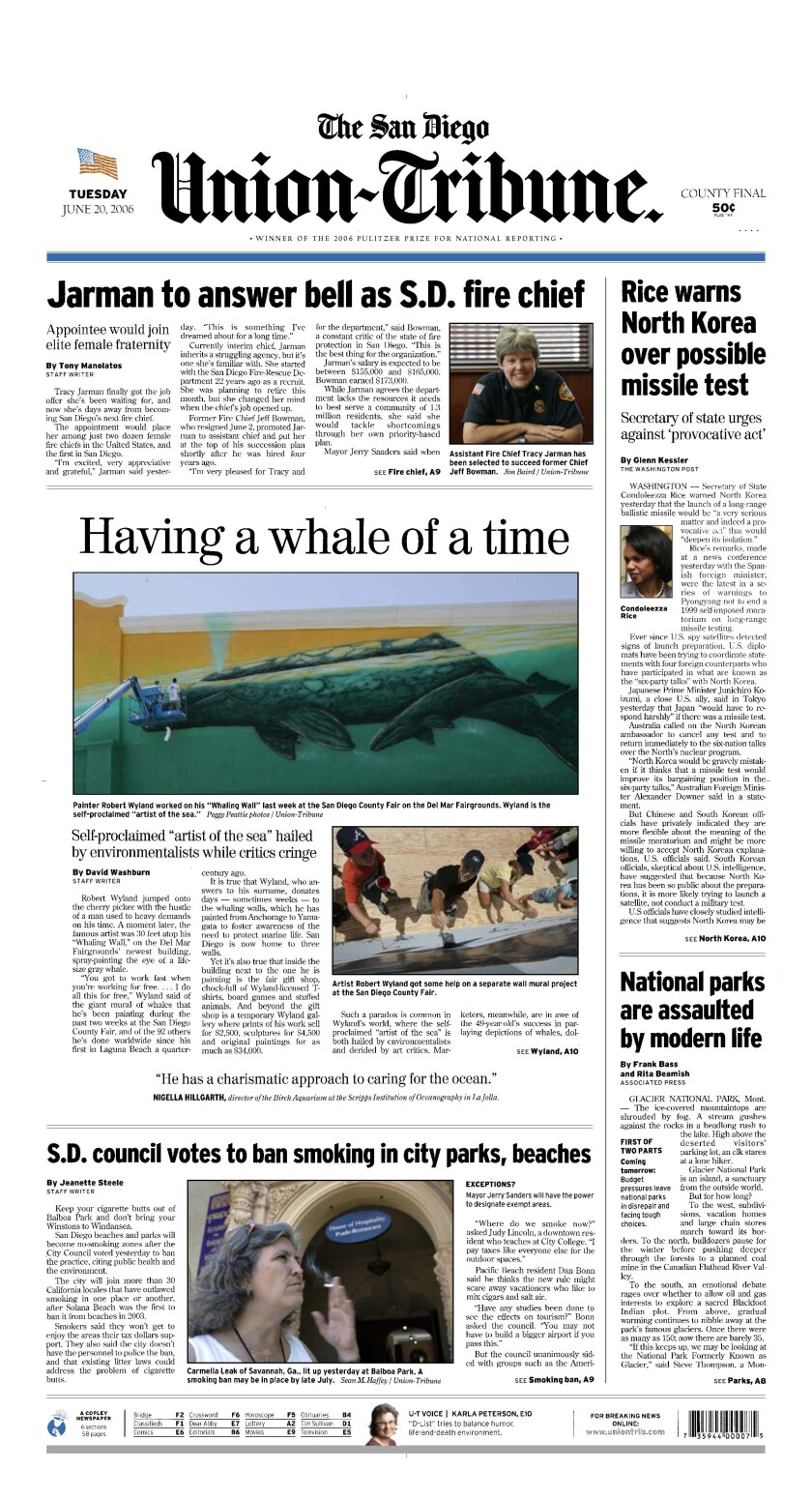 Front page of The San Diego Union-Tribune, June 20, 2006.