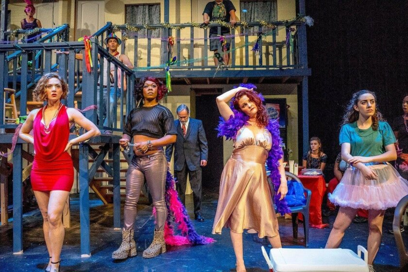 """(From left) Dana Fares, Kevane La'Marr Coleman, Lou Slocum, Beverly Baker, Nicole Sollazzo and Natasha Partnoy in Ion Theatre's """"Airline Highway."""""""
