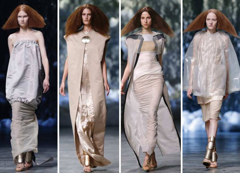 Looks from the Rick Owens spring-summer 2013 runway collection shown during Paris Fashion Week.