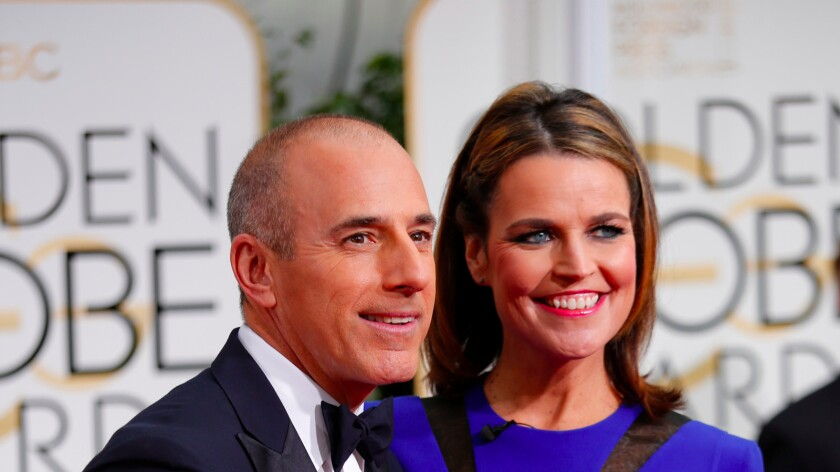 """""""Today"""" co-anchors Matt Lauer and Savannah Guthrie at the Golden Globe Awards in Beverly Hills last year."""