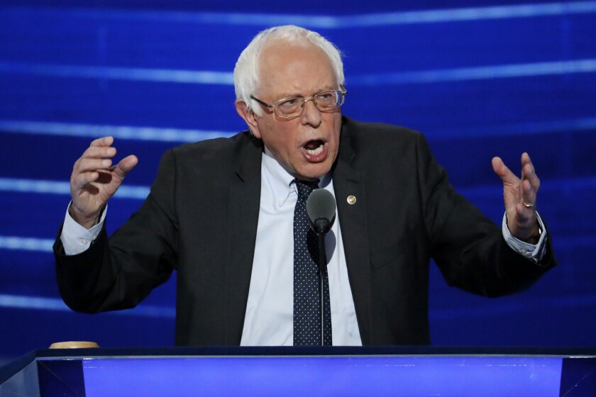 FILE - In this July 25, 2016 file photo, Sen. Bernie Sanders, I-Vt. speaks at the Democratic National Convention in Philadelphia. Sanders' presidential campaign got two deadline extensions on filing a candidate disclosure with the Federal Election Commission (FEC), and then was excused from doing so after he dropped out of the race. (AP Photo/J. Scott Applewhite, File)
