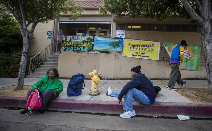 Tyrone Dixon with other homeless people at the Echo Park Community Center