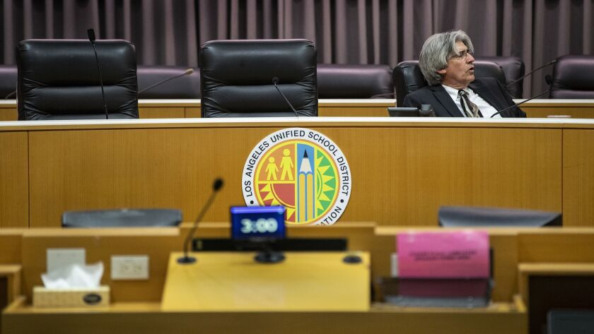 """After meeting for more than five hours in secret, L.A. school board members failed to announce a new superintendent Friday and left Jefferson Crain, the board's senior staff member, to close the meeting by himself """"for lack of a quorum."""""""