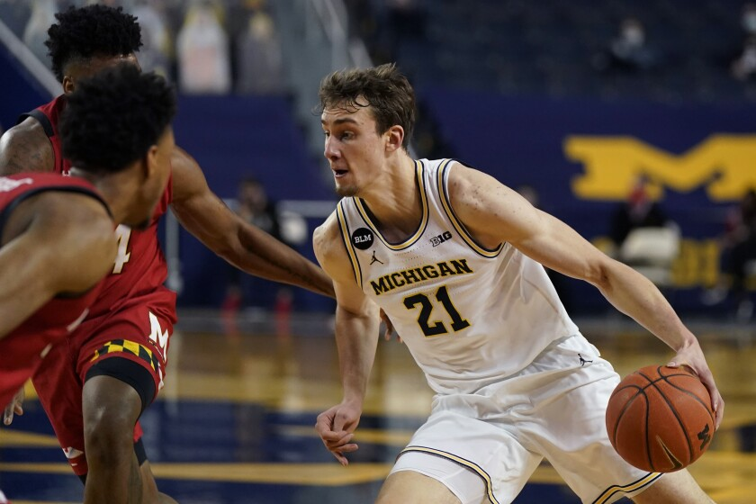 Michigan's Franz Wagner drives during the second half of a game against Maryland on Tuesday night.