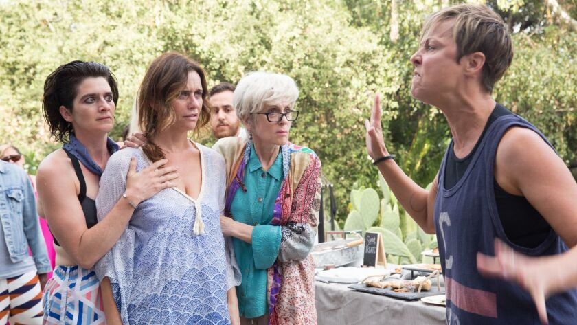 """""""Transparent"""" cast members Gaby Hoffmann, left, Amy Landecker, Judith Light and Melora Hardin from a Season 2 episode of the Amazon comedy."""