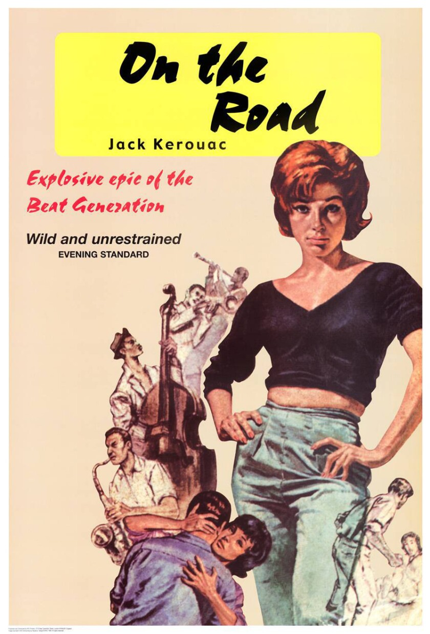 "A reproduction of the British paperback cover of ""On the Road."" Despite the prominence of a female on the cover, it's the boys' stories that dominate Jack Kerouac's classic."