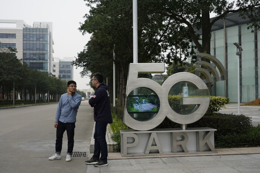 A sign marks 5G Park on Huawei's campus in Shenzhen, China, signaling the company's aspirations.