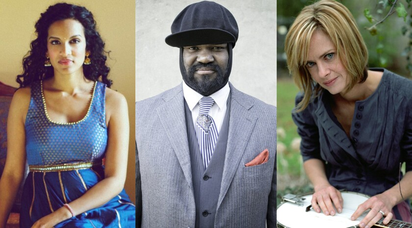 2021 Grammy nominees: San Diego-bred artists (from left) Anoushka Shankar, Gregory Porter and Alison Brown.