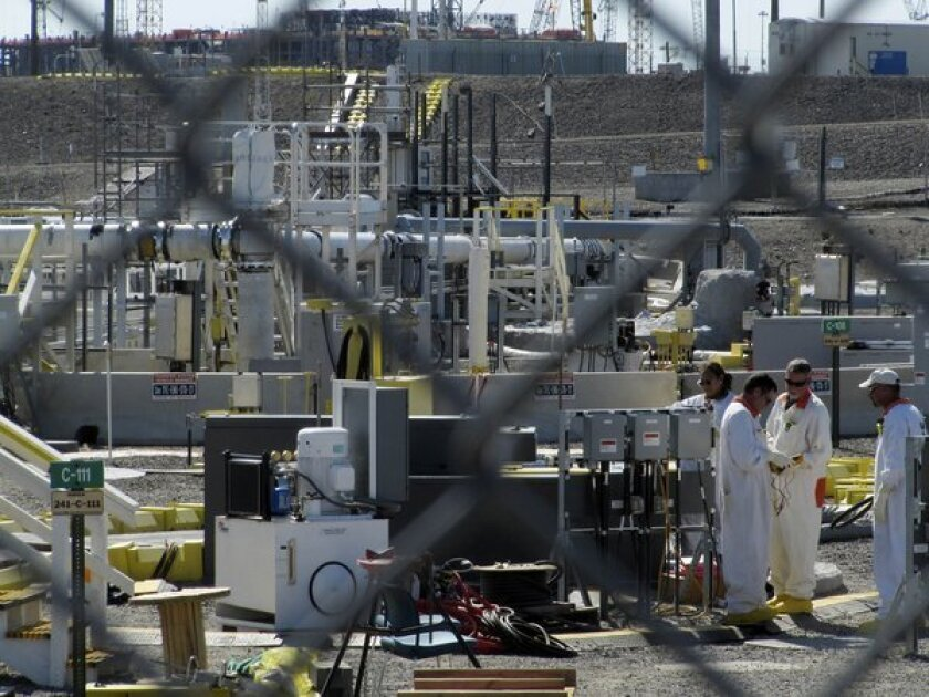 Workers at the Hanford Nuclear Reservation near Richland, Wash.