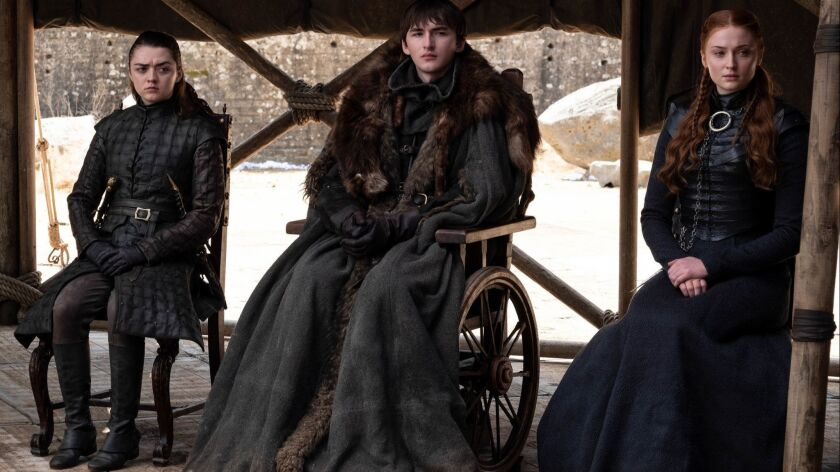 "Arya, Bran and Sansa Stark in the finale of 'Game of Thrones,' ""The Iron Throne,"" on Sunday. (Helen"