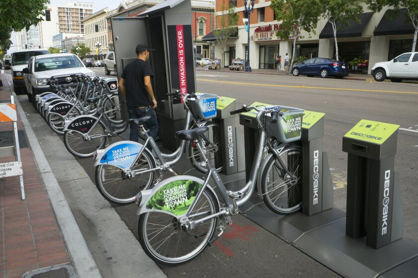 DecoBike had removed all its solar-powered bicycle kiosks from city of San Diego property by Saturday, April 6 in accordance with a city directive that said the company was in breach of contract.