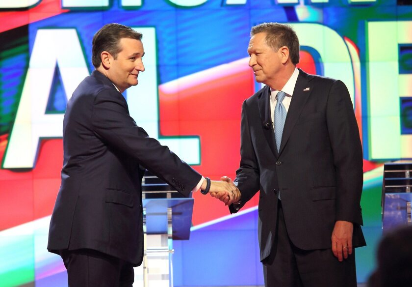 Ted Cruz and John Kasich at the March 10 debate in Florida. The two this week struck a deal to try to block Donald Trump from the Republican nomination.