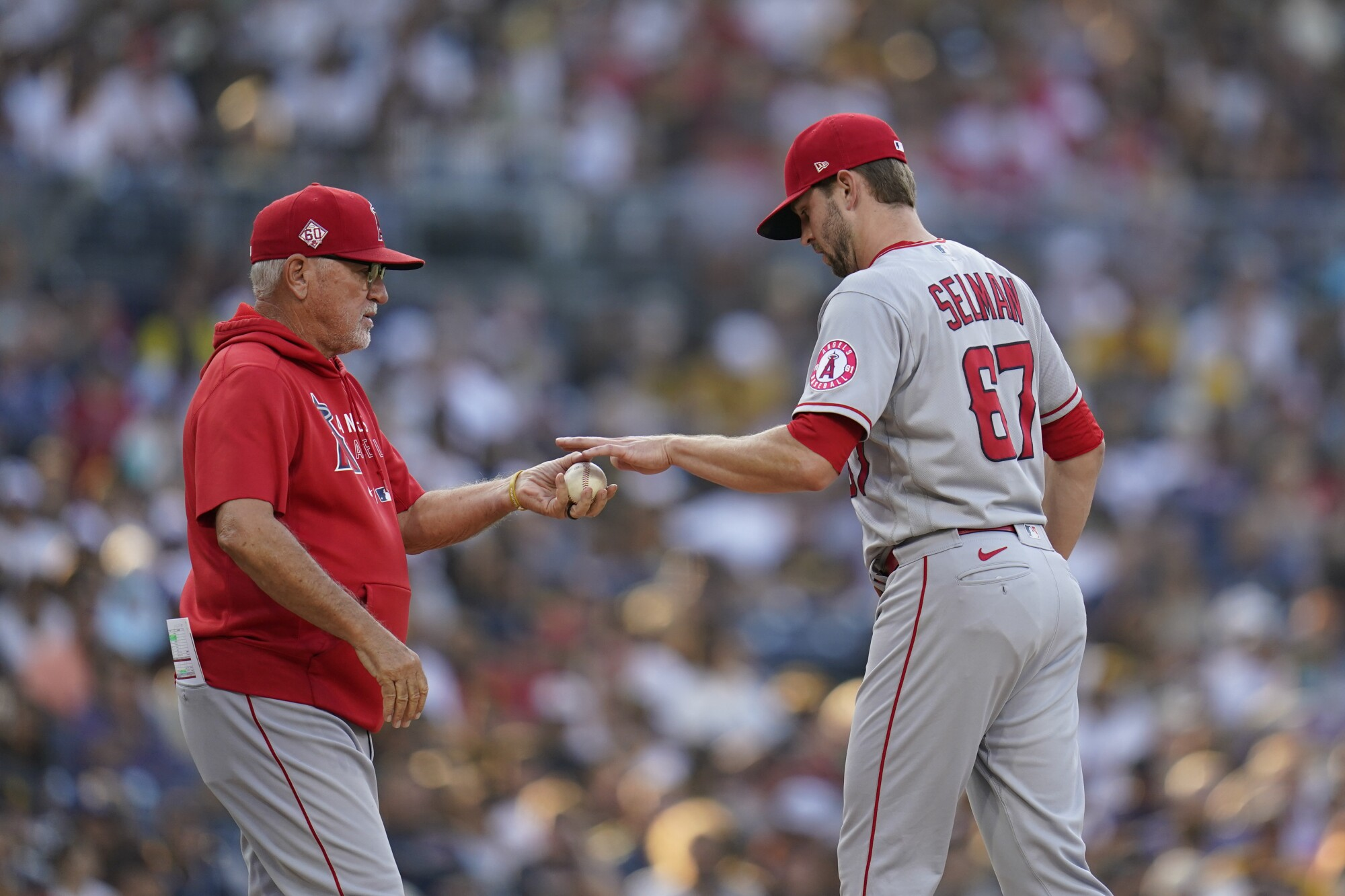 The Angels gave up eight runs in the second inning Wednesday in a loss to the Padres. (AP Photo/Gregory Bull)