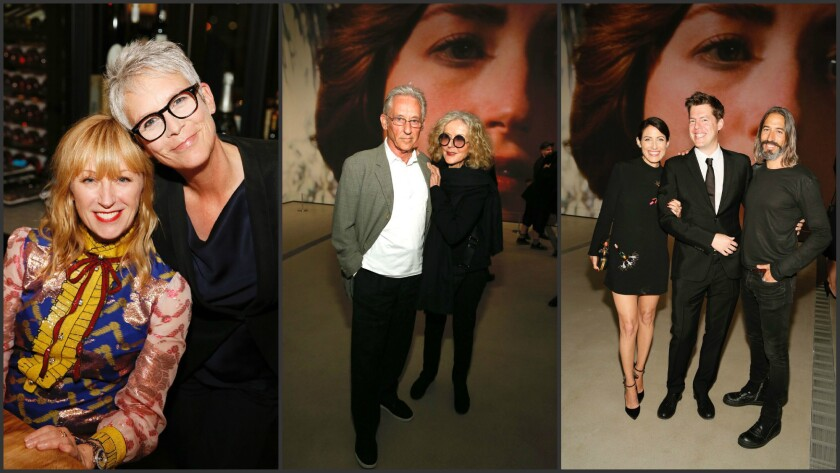 Guests included Jamie Lee Curtis, pictured with artist Cindy Sherman, left; artist Ed Ruscha and Danna Ruscha; and actress Lisa Edelstein, guest curator Philipp Kaiser and artist Robert Russell.