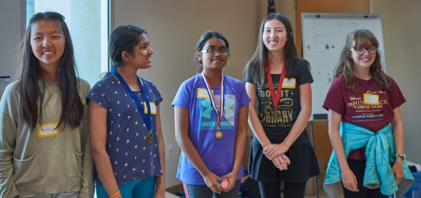 Participants in a past All Girls STEM Society competition.