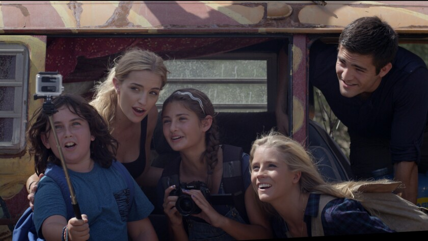 "Max Wright, from left, Brianne Howey, Olivia Draguicevich, Cassidy Gifford, Reiley McClendon in the movie ""Time Trap."""
