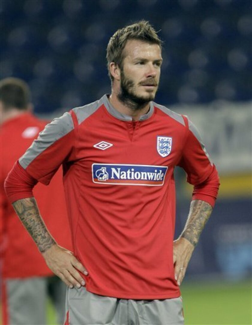 England national soccer team player David Beckham during a practice session in Dnipropetrovsk, Ukraine, Friday, Oct. 9, 2009, ahead of a World Cup Group 6 qualifying soccer match against Ukraine, on Oct. 10. (AP Photo/Efrem Lukatsky)