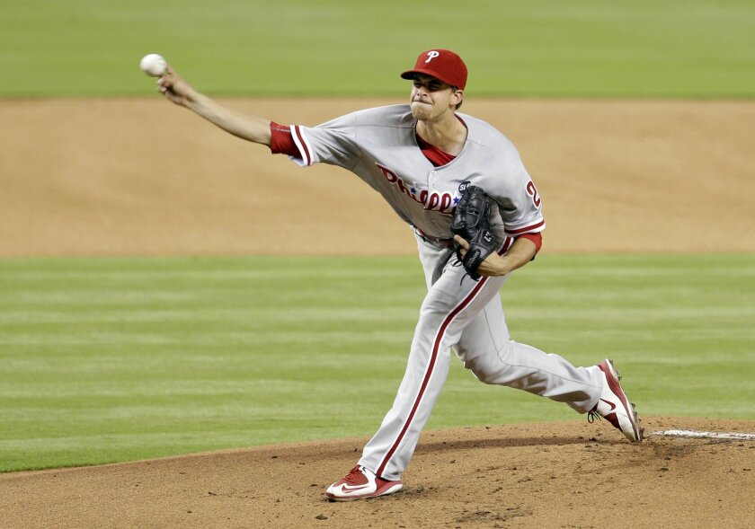 Philadelphia Phillies' Aaron Nola (27) pitches against the Miami Marlins in the first inning of a baseball game Sunday, Aug. 23, 2015, in Miami. (AP Photo/Alan Diaz)