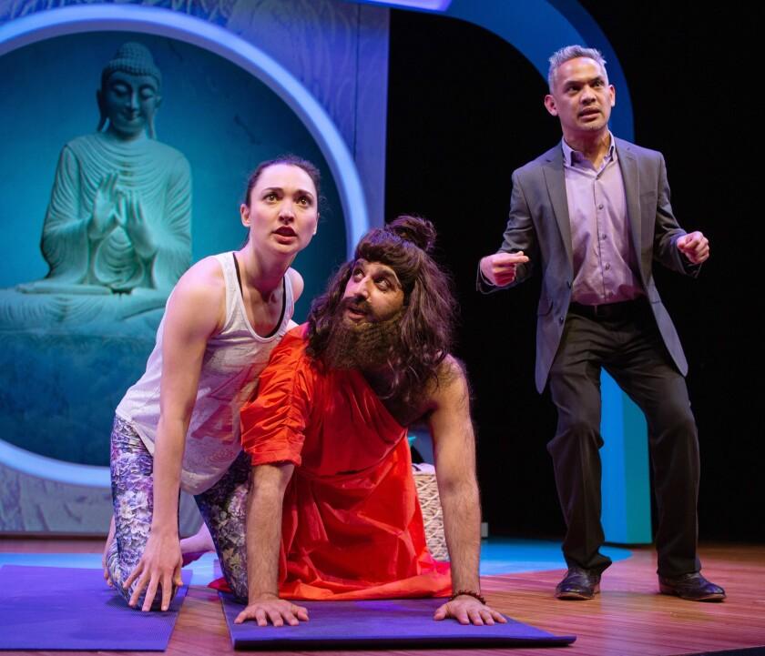 "Ayelet Firstenberg, left, Bobak Bakhtiari and Ryan Morales in ""Yoga Play"" at the San Francisco Playhouse."