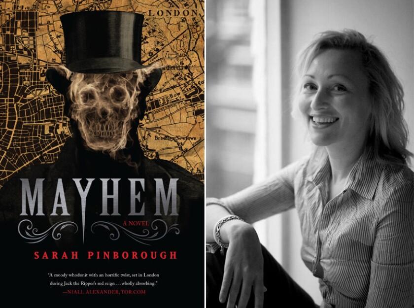 "The cover of ""Mayhem"" and author Sarah Pinborough."