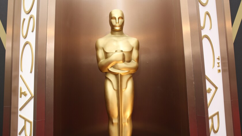 An Oscar statue is displayed at Los Angeles' Dolby Theatre, where the Academy Awards are held.