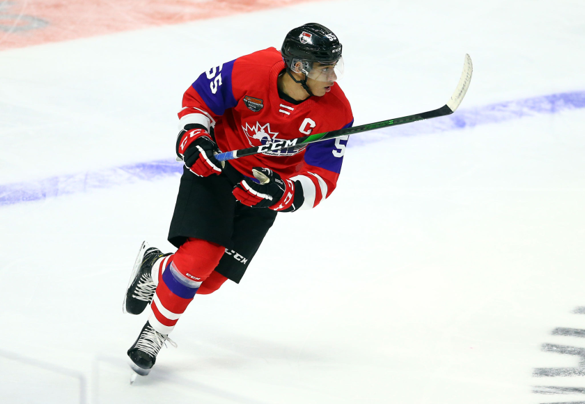 Quinton Byfield takes part in 2020 CHL/NHL Top Prospects Game in January.