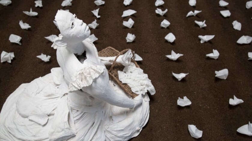 """Karon Davis' """"Monsanto Memorial Garden"""" at Wilding Cran Gallery."""
