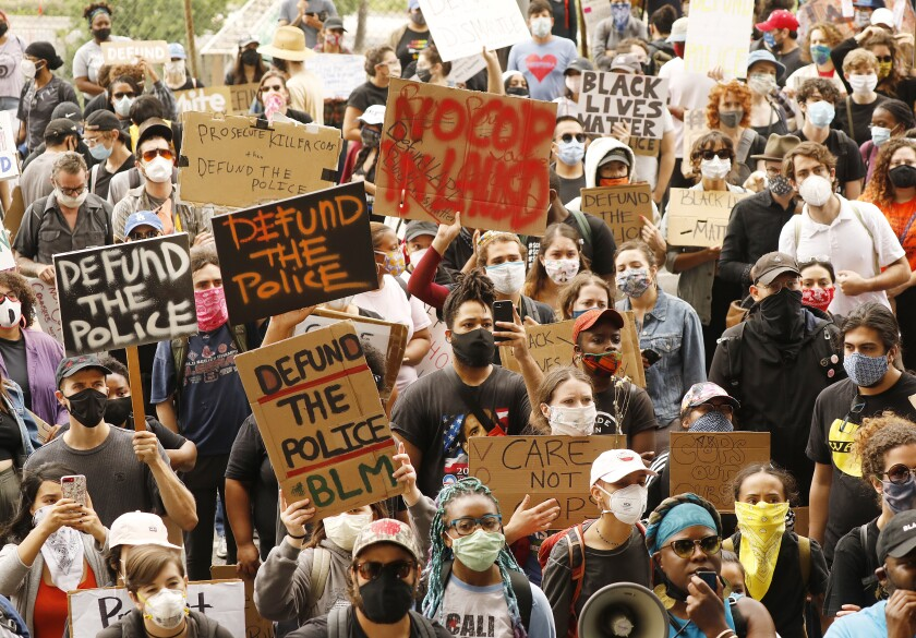Students and community members marched to urge L.A. Unified to defund school police.