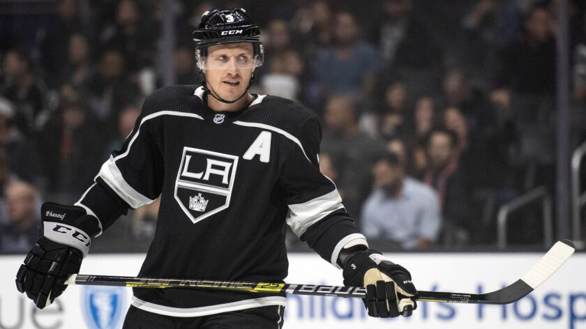 Los Angeles Kings defenseman Dion Phaneuf during an NHL hockey game against the New York Islanders T