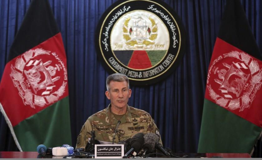 Gen. John W. Nicholson Jr., commander of U.S.-led coalition forces in Afghanistan, addresses reporte