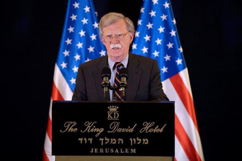 El asesor de Seguridad Nacional de la Casa Blanca, John Bolton, asiste a una rueda de prensa durante su visita oficial a Israel, en Jerusalén (Israel), el 22 de agosto de 2018. EFE/Archivo