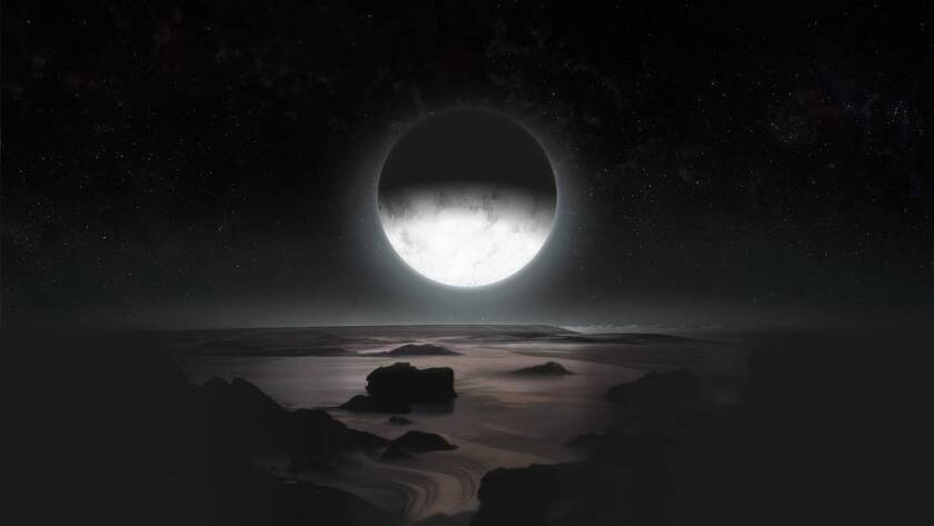 In this artist's rendering, Pluto's frozen southern pole is lit by its largest moon, Charon.