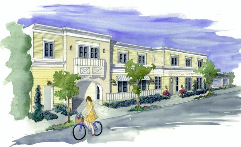 Artist rendering of the Monarch Cottages Alzheimer's care facility proposed for 7630 Fay Ave. During its Dec. 18 meeting, the San Diego Planning Commission praised the project's design and pedestrian-friendly 'storefront' aesthetic, with windows, greeting area and an outdoor patio for residents.