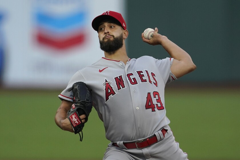 Angels pitcher Patrick Sandoval throws against the San Francisco Giants.