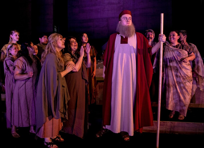 """Michael J. Hawk plays Moses, and community members are the ensemble in Los Angeles Opera's premiere of """"Moses,"""" written by composer Henry Mollicone and librettist Shishir Kurupat and performed at the Cathedral of Our Lady of the Angels."""